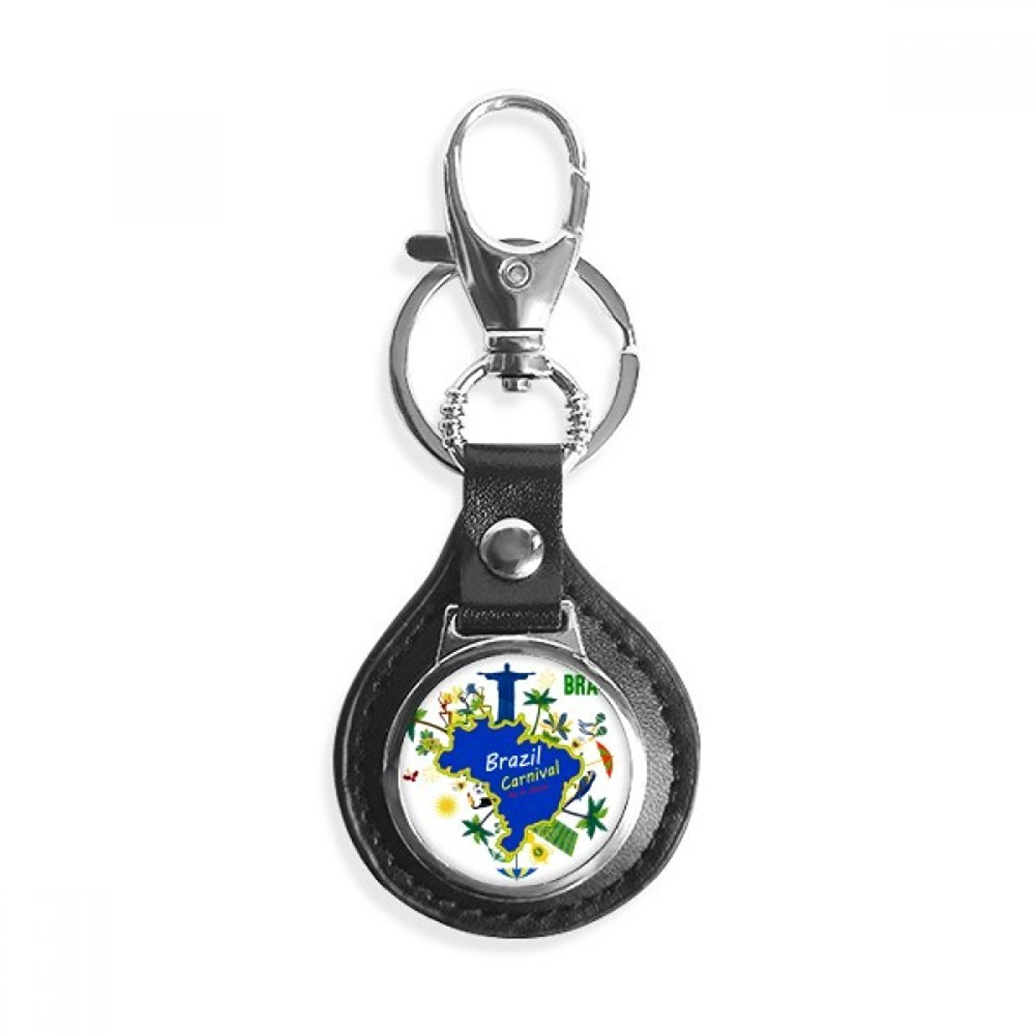 Mount Corcovado Brazil Maps Brazil Carnival Leather Metal Key Chain Ring Car Keychain Gift