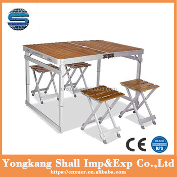 Outdoor Camping Foldable Chair And Table Easy To Carry Bamboo And Alu Cheap  Sale