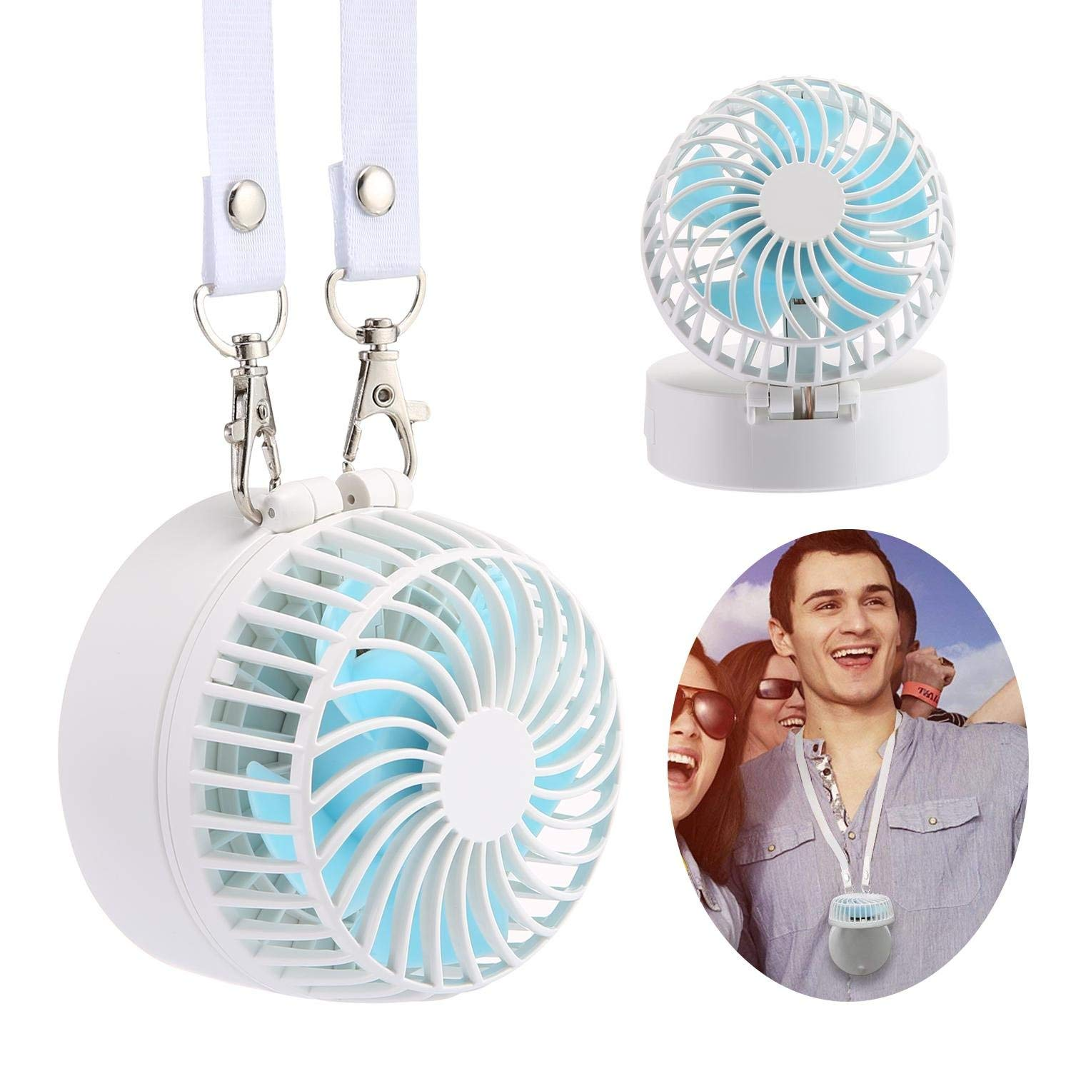 KOBWA Neck Fan, Mini Portable Outdoor Handheld Fan with Neck Strap, 180° Adjustable Desk Fan with Rechargable Battery & Make-up Mirror for Home Office Travel, White