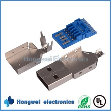 Solder type top bottom shell male micro usb 3.0 AM connector