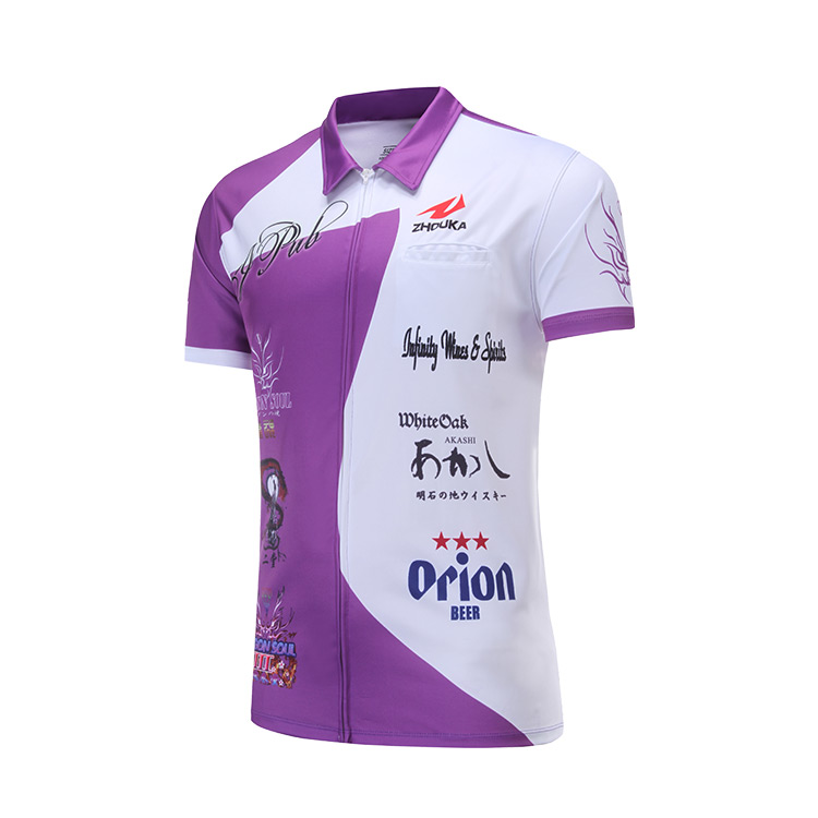 Design Your Own Custom Purple And White Dart Shirts Jersey Polo With Pockets For Team Sublimation Dart T shirt