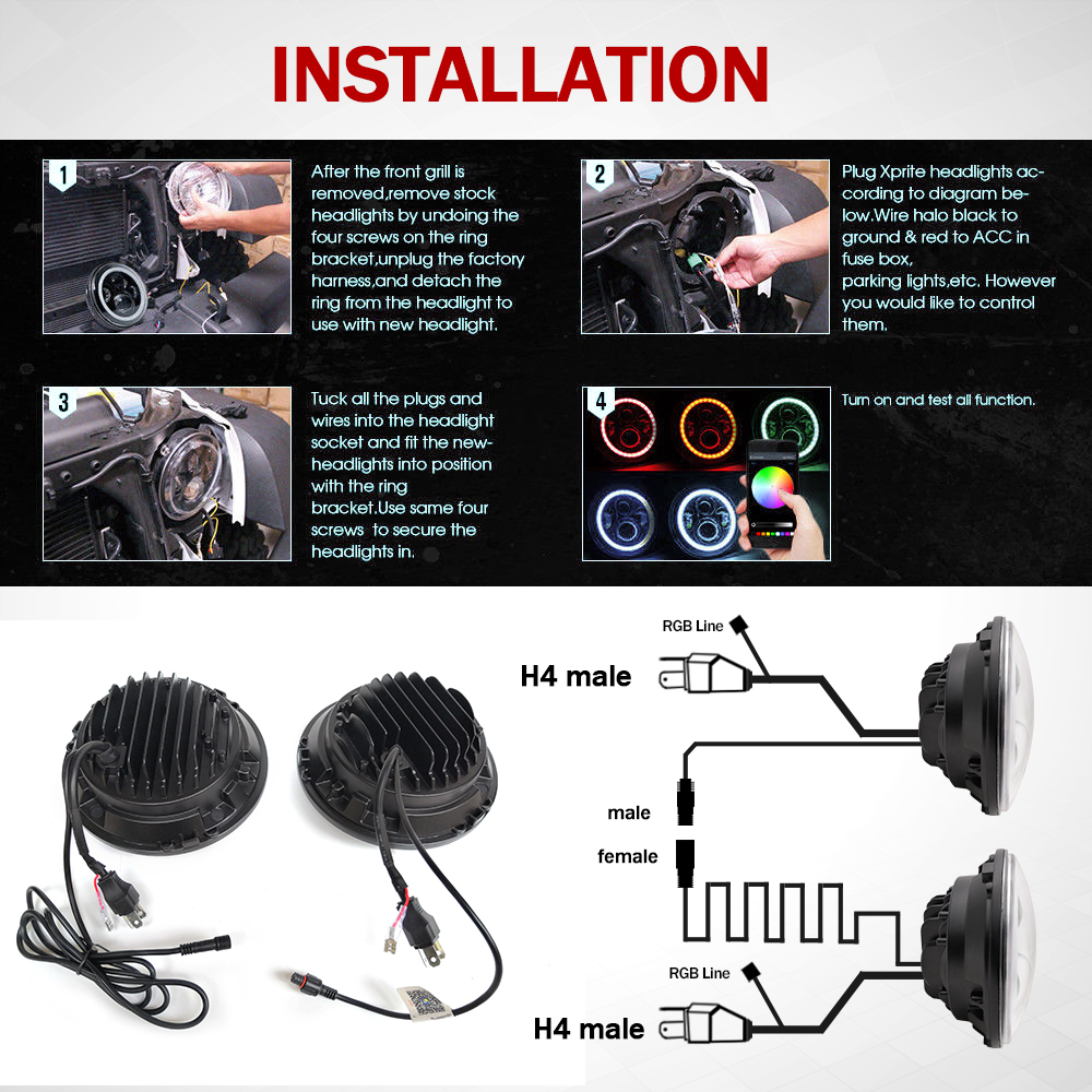 China Jeep Wrangler Led Headlight Unplug Wiring Harness Manufacturers And Suppliers On