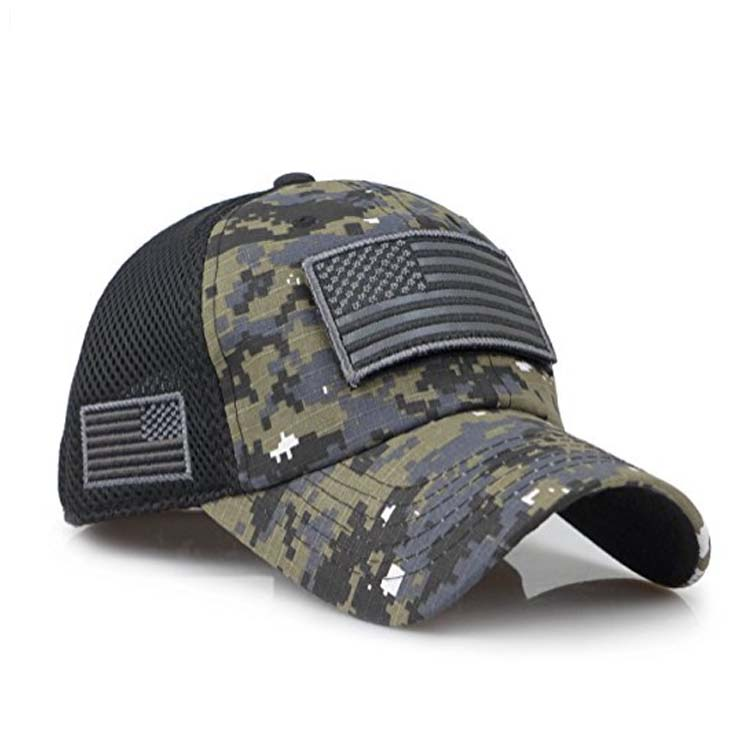 Camouflage Constructed Trucker Special Tactical Operator Forces USA Flag  Patch Baseball Cap 73e6b2d893f