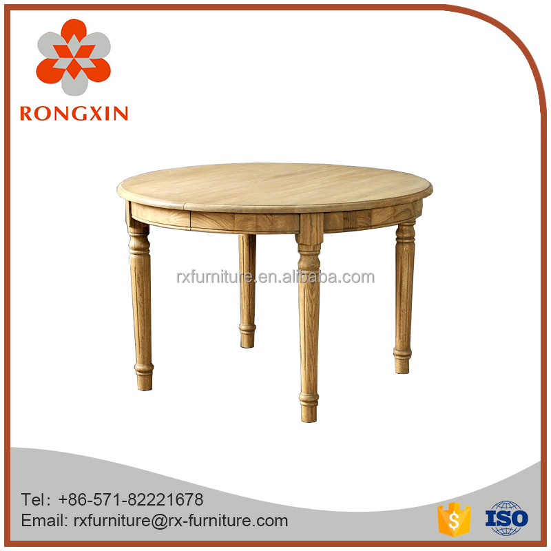 High quality European living room furniture simple style round shape wooden dining extension table