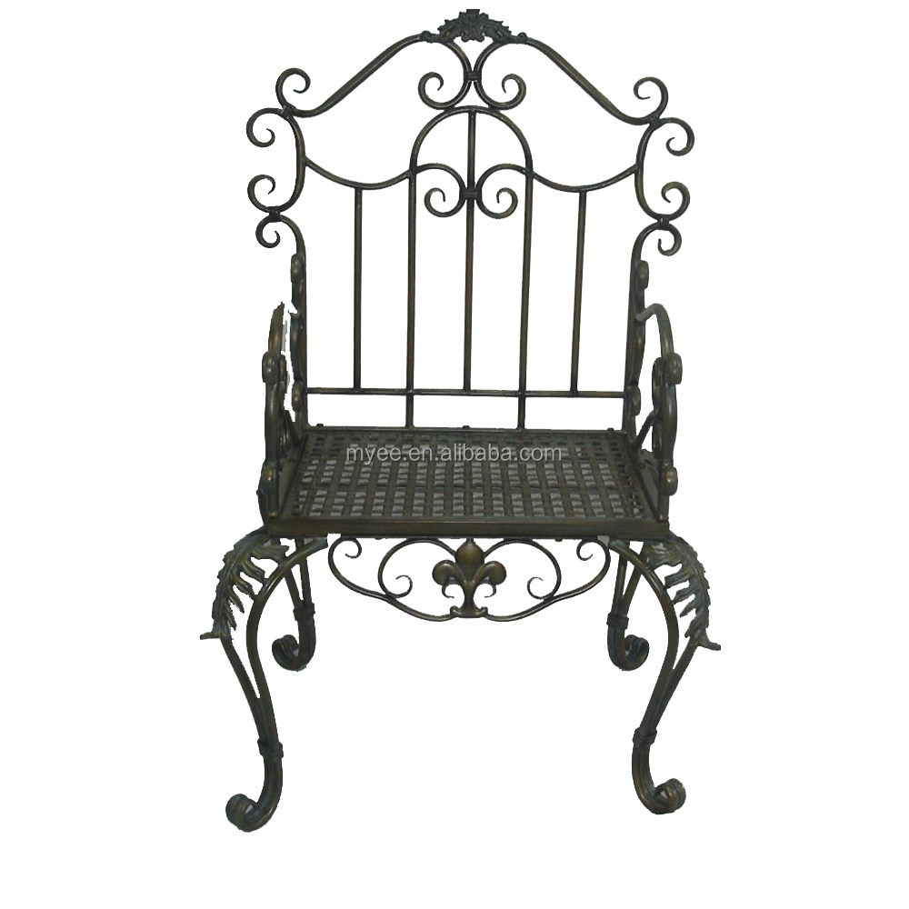 Antique metal baroque royal high back living room chair with arm
