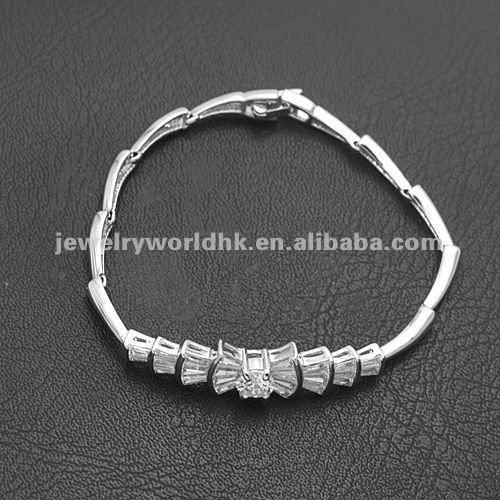Authentic Austrian white crystal gold plated bow bracelet