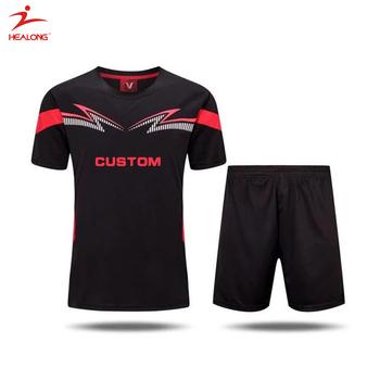 57ebbc947e2 Healong Sportswear Factory Blank Black And Red Custom Soccer Uniforms  Soccer Jersey