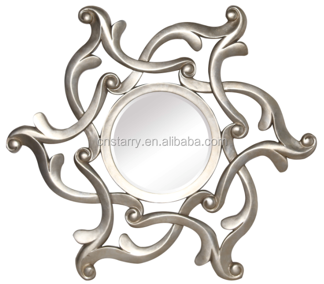 Flower adhesive PU mirror frame , small decorated frame with bevelled mirror