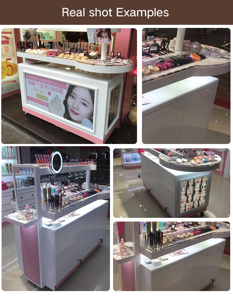 modern design cosmetic cabinet display showcase cosmetic shop counter table