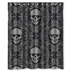 Charming Get Quotations · 100% Polyester Waterproof Dark Balck World Design Skull  With Lacy Pattern Around Shower Curtain 60