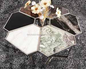 Modern luxury polygen silver Stainless Steel coffee tables / table basse combimation from Foshan