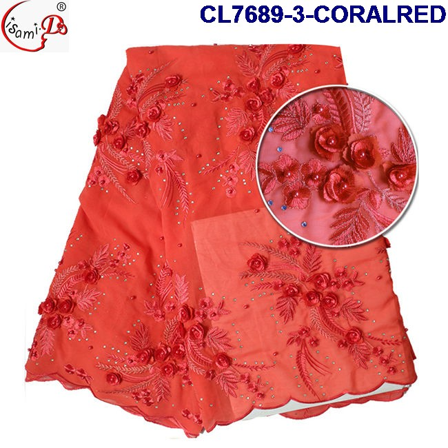 New arrival CL7689-3-CORALRED 3d flower lace embroidered fabric Luxury Wedding lace fabric for bridal