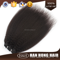 100% human hair Clip-in Yaki Human Hair Extensions/yaki human hair extension braids