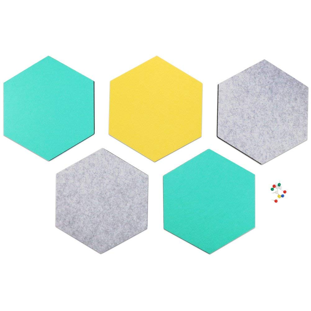 Get Quotations · SEG Direct Hexagon Felt Board Gray Teal   Yellow 5 PCS Set  with Push Pins 1ba4090cc