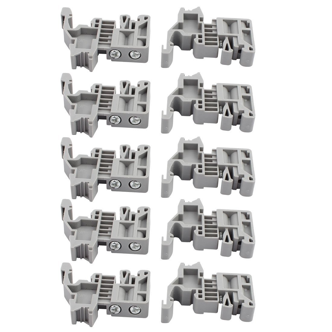 Aexit 10 Pcs E/UK 35mm Din DIN Rail End Screw Clamp Terminal Fixed Block Gray