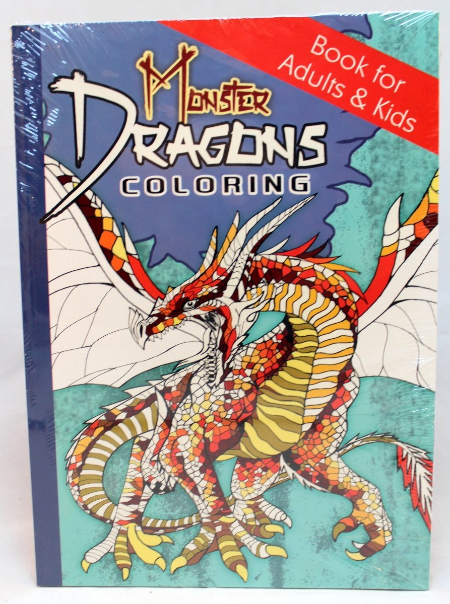 Oceanis Adult and Teen Coloring Book Monster Dragons Theme