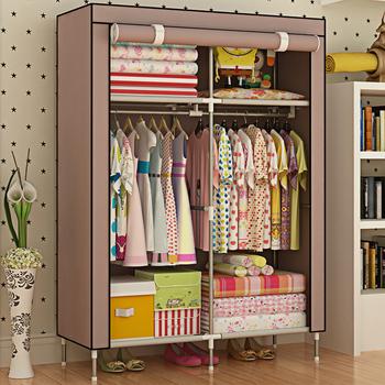 Portable Folding Simple Open Door Non Woven Fabric Cloth Storage Wardrobe  Almirah Inside No Zipper Design