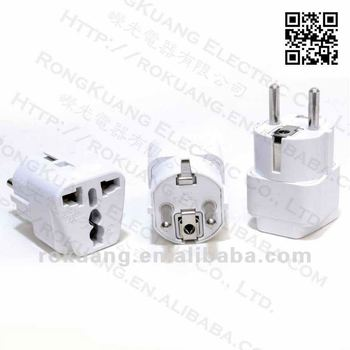 grounded universal plug adapter for europe schuko type. Black Bedroom Furniture Sets. Home Design Ideas