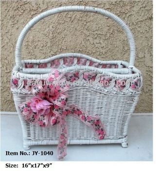 White Pink Wicker Newspaper Basket With Ribbon