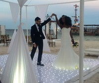 Hire White Gloss Wireless Remote Control Battery Twinkling Starlit LED Dance Floor For Wedding Party Disco Event