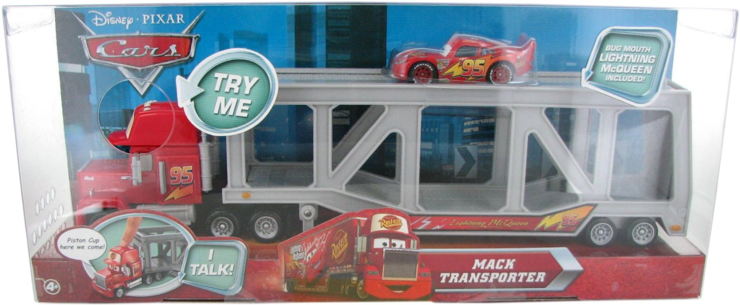 Disney / Pixar CARS Movie Exclusive Talking Mack Transporter with Bug Mouth Lightning McQueen