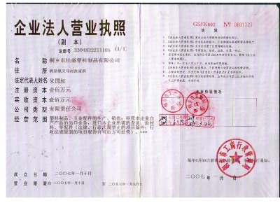 LICENSE OF BUSSINESS CORPORATION