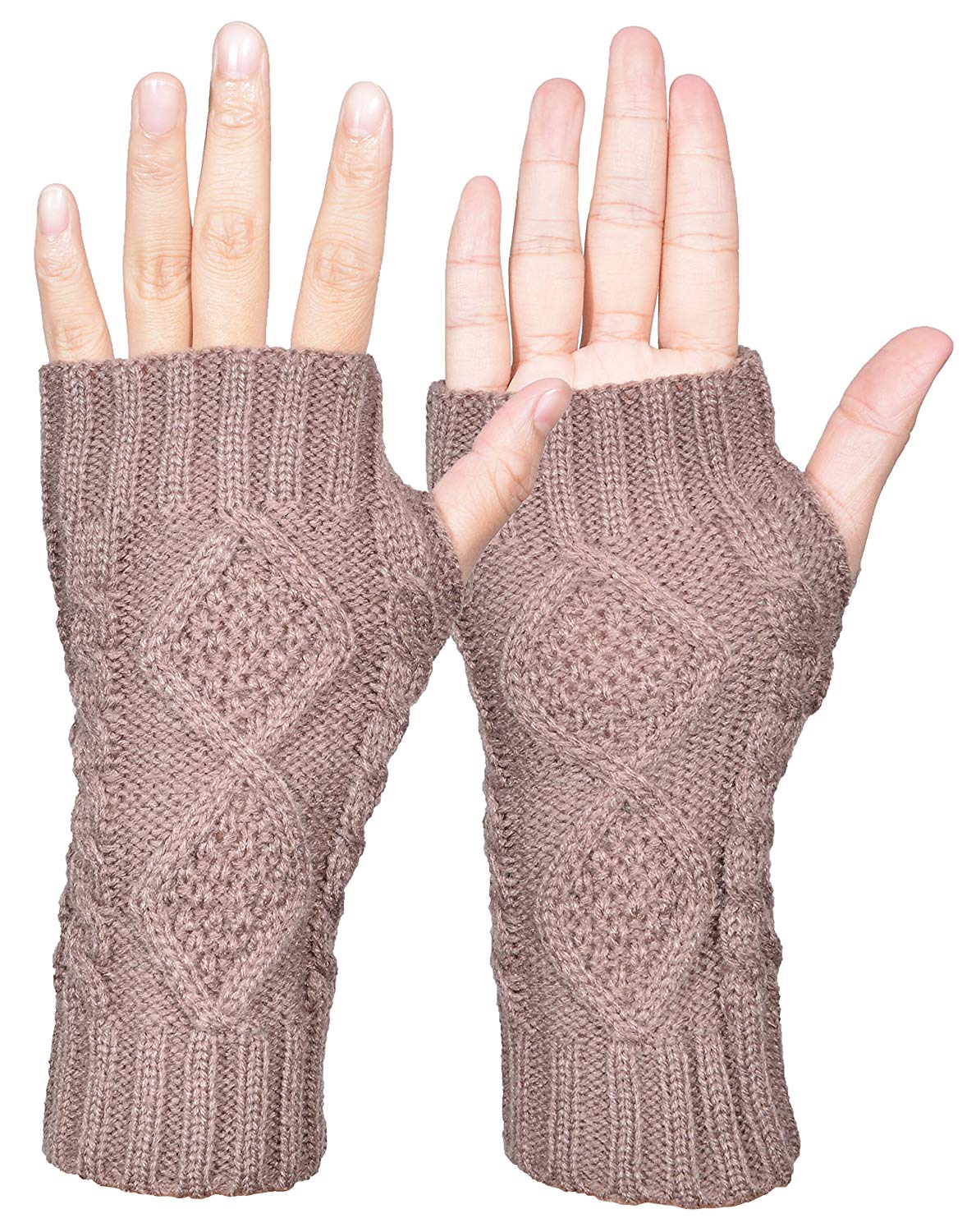 f7a5869af Outrip Womens Fingerless Gloves Winter Warm Knit Thumb Hole Mittens Arm  Warmers