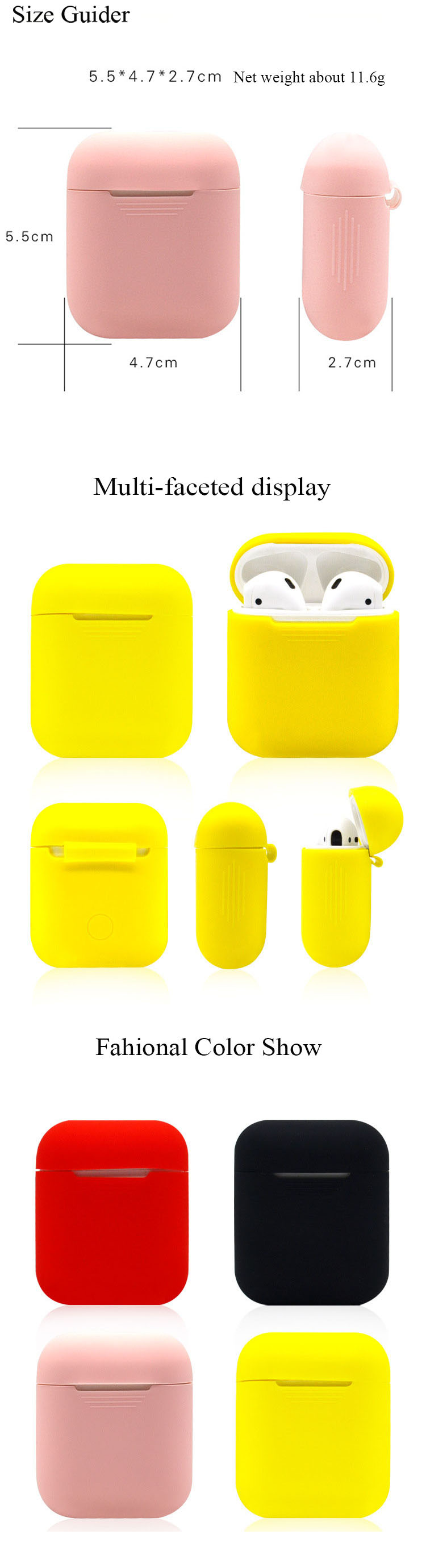 BOORUI Silicone Cases air pods accessories  case cover Thicker Stronger TPU  parts for apple wireless earbuds