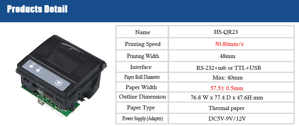 Panel 58mm direct thermal printer and TTL RS2332 interface hot buy machine HS-QR23
