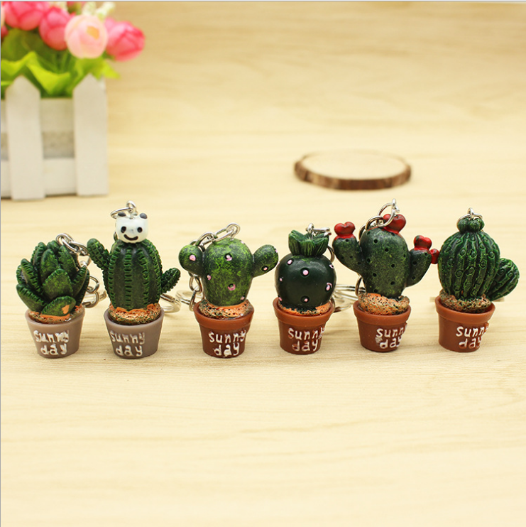 Creative simulation of mini plant potted key chain Cactus resin key ring Personalized small gifts customized wholesale