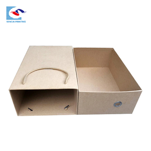 New design custom printed shoes kraft paper box with handle