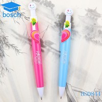 Colored lovers fancy cheap plastic cute pen with smile face and heart
