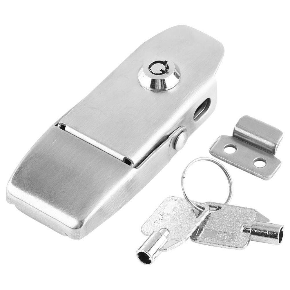 POWERTEC 21104 Stainless Steel Spring Loaded Chest Latch Locking Hasp with Catch Plate 2-Pack 4.5-Inch