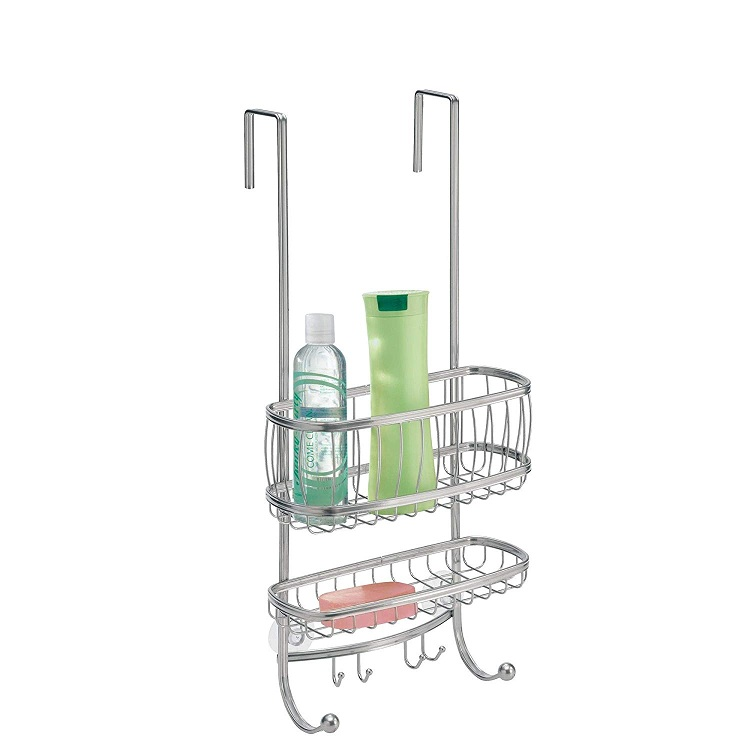 Bathroom Sliver 2 Tier Hanging Over Door Shower Caddy With Suction Cup