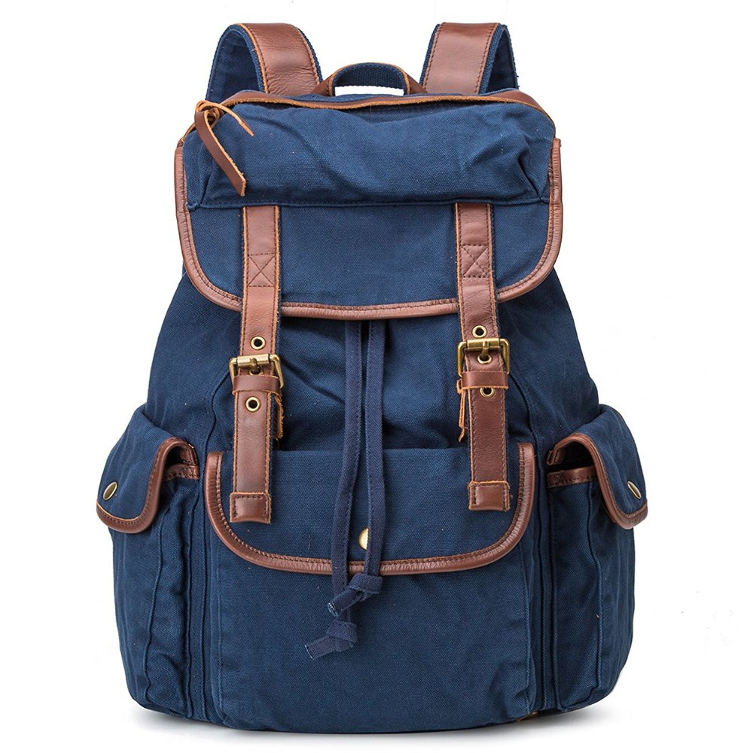 2218e73b0c BUG Genuine Leather Trim School Canvas Backpack Travel Bags (Blue Navy)