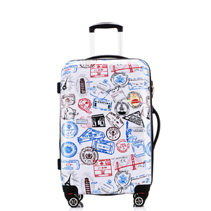 custom colorful abs pc plastic wheeled luggage