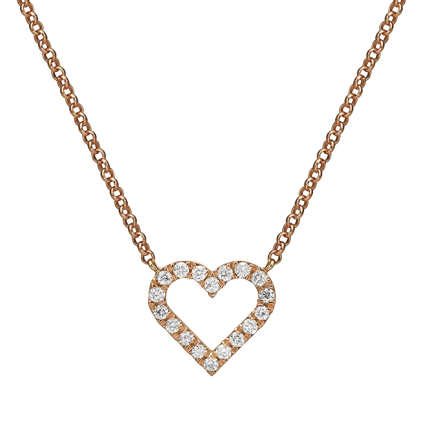e1af4503d10f34 Heart shape small pave diamond 14K Rose Gold necklace,Mini Diamond Hear  Pendant, Diamond