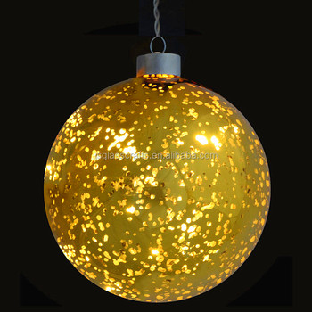 light up gold plated hanging glass ball christmas decoration with warm white led lights - Hanging Lighted Christmas Decorations
