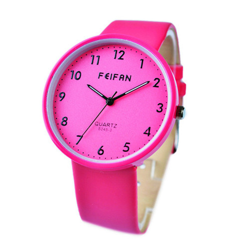 2015 FEIFAN brand quartz wristwatches 4colors dress design girl's bracelet waterproof watches PU leather strap best gifts friend