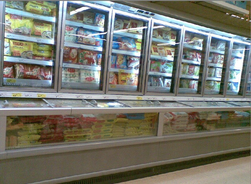 Supermarket vertical combined type display chiller and freezer with single / double temperature