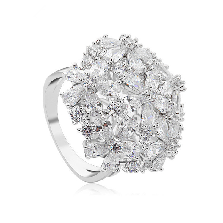 silver and gold tone cluster diamonds cz zirconia big luxury rings
