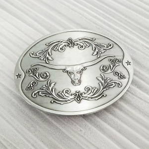 Long Horn Bull Western Belt Buckle beer holder silver