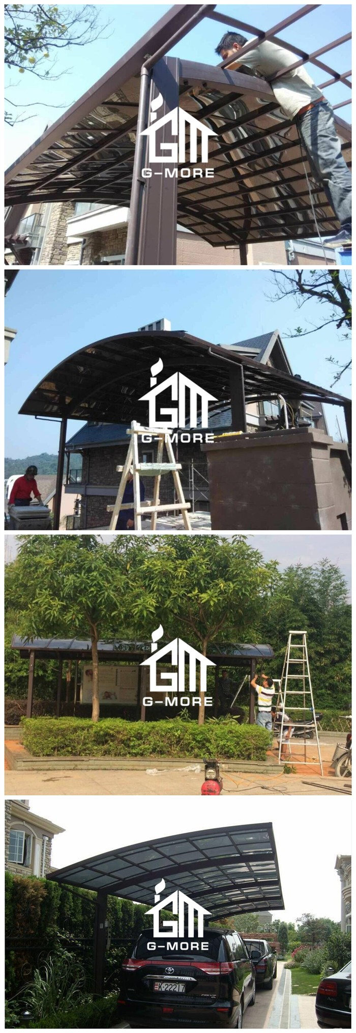 G-MORE Professional Carport Manufacturer, High Grade Easy DIY Elegant Aluminium/Solid PC Home Car port/ Car Shed