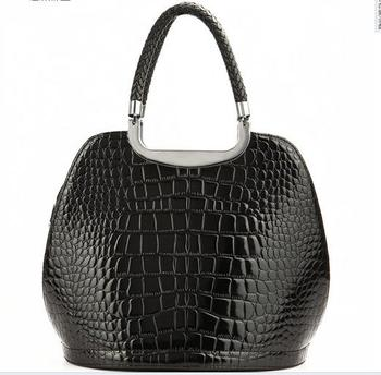 72d276432fe Black Color Croco Patent Trend Ladies Top Selling Genuine Leather Handbag -  Buy Genuine Leather Handbag,Croco Patent Leather Handbag,Trend Leather  Handbag ...
