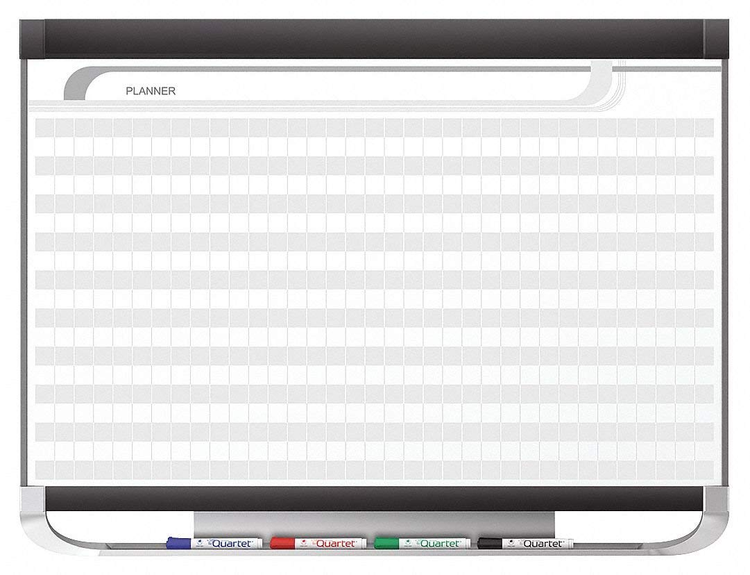 """Quartet Gloss-Finish Porcelain Planning Board, Wall Mounted, 24""""H x 36""""W, White/Gray"""