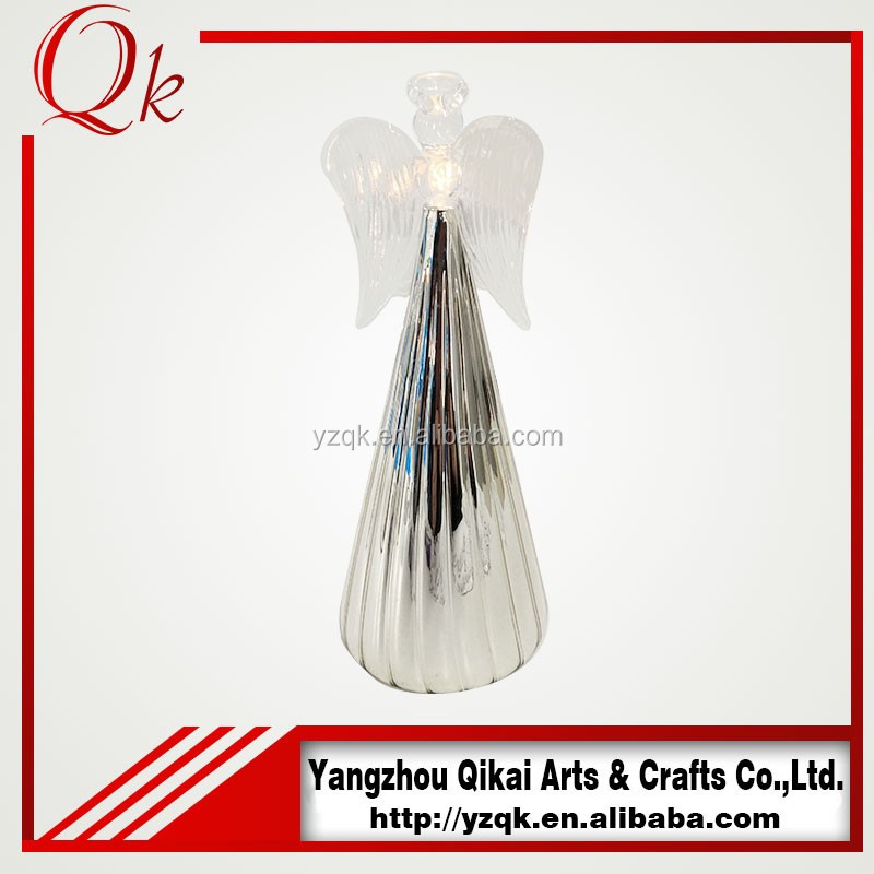 Creative design glass angels glass crafts with candlestick with low price