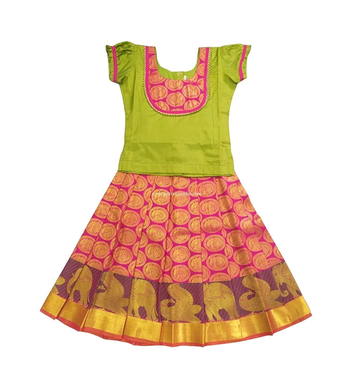 be4703cdb8b87 Buy Dark Green and Wine Kids Pattu Pavadai (Ghagra Choli) in Cheap ...