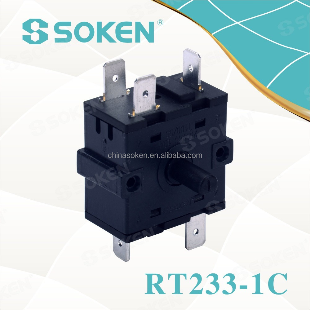 SOKEN 11 mm electrical oven 4 position rotary selector switch16a 250v t100 RT233-1C