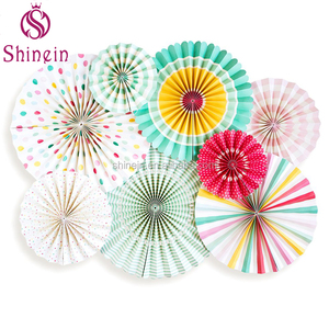 Wholesale Christmas Valentine Wedding Party Supplies Decorations Sets Hanging Paper Fans