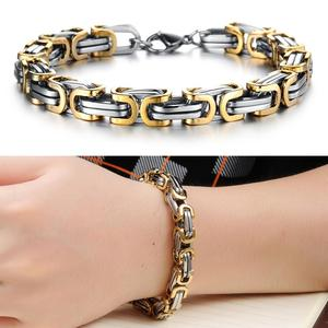 Gold women and men wholesale gold titanium stainless steel bike chain bracelets